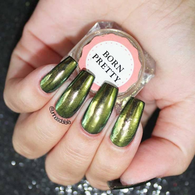 TUTORIAL: Unhas Espelhadas / Unhas Cromadas com Mirror Powder da Born Pretty Store