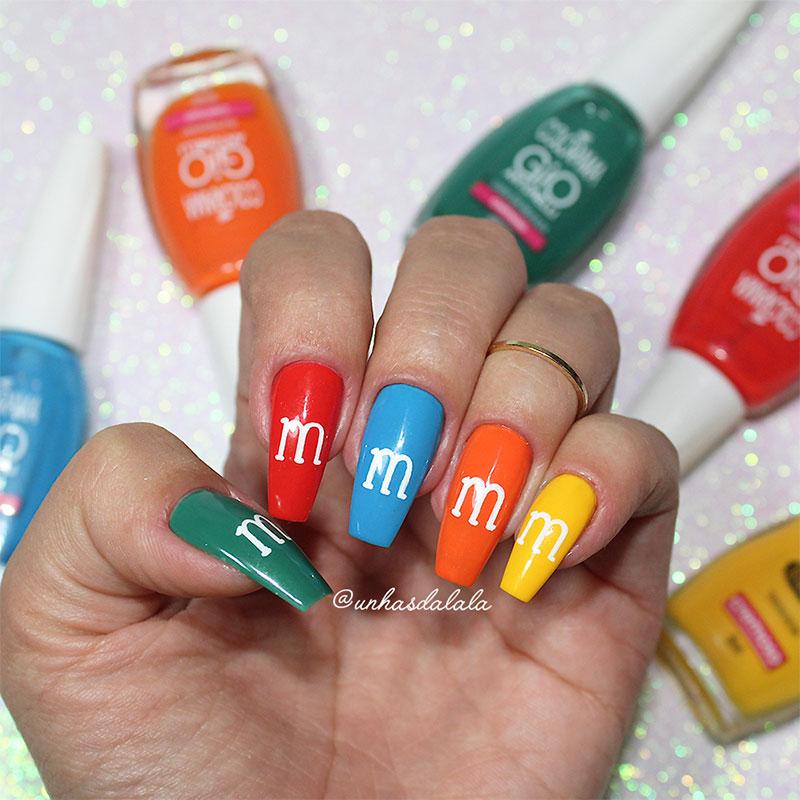 Unhas Decoradas M&M's