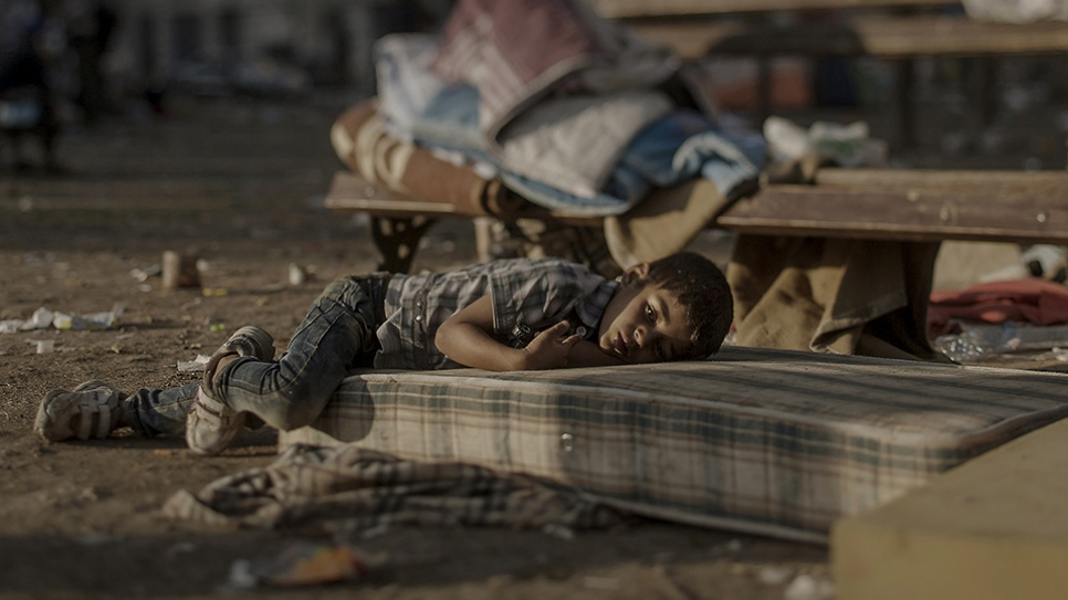 Abdullah has a blood disease. For the last two days, he has been sleeping outside the central station in Belgrade. He witnessed the killing of his sister in their home in Daraa, Syria.