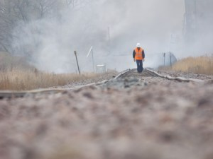 This photo shows how uneven the tracks are just east of the accident site. BNSF workers have been doing maintenance on the track in the area, raising the track bed by about a foot. If you click on the photo, you'll see a bigger image which shows the unevenness of the track more clearly.