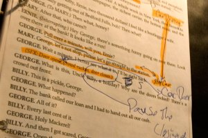 """A page of script from """"It's A Wonderful Life, A Live Radio Play,"""" with Foley markup."""