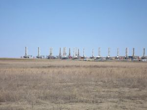 A drilling rig graveyard north of Dickinson, N.D.