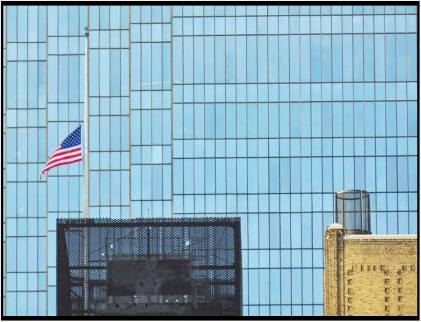 July 10: Flag at half-staff in honor of the police officers murdered in Dallas, seen yesterday from the outdoor plaza of Orchestra Hall in Minneapolis.