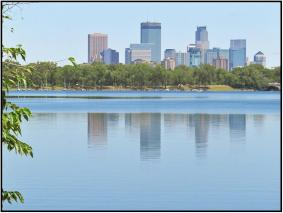 July 2: Reflections looking toward downtown Minneapolis from Lake Calhoun. Photographed yesterday with a Canon SX710 HS pocket camera while biking with Dorette Kerian.