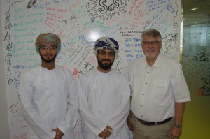 Mohaired Al Harthy (center) and Mustafa Al Alawi, filmmakers in Oman.