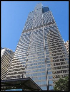 "September 14: The Willis Tower in Chicago. At 108 stories and 1,451 feet, it is the tallest skyscraper in the U.S. Formerly known as the Sears Tower, its observation deck was used for a scene in the 1986 movie, ""Ferris Bueller's Day Off."" Watched it again on DVD the other day — it can still make me laugh."