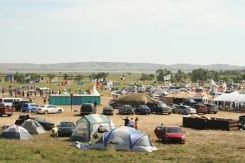 The encampment on U.S. Army Corps land.