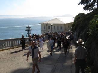 First tourists of the day arrive at Alcatraz.