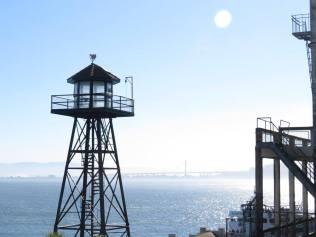 East Bay Bridge in the hazy background, from Alcatraz Island.