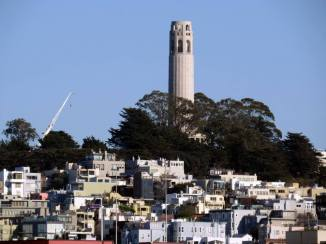 Coit Tower from San Francisco Maritime National Historical Park.