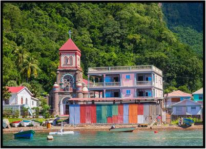 December 5: Church on the Island of Dominica, photographed from the sea.
