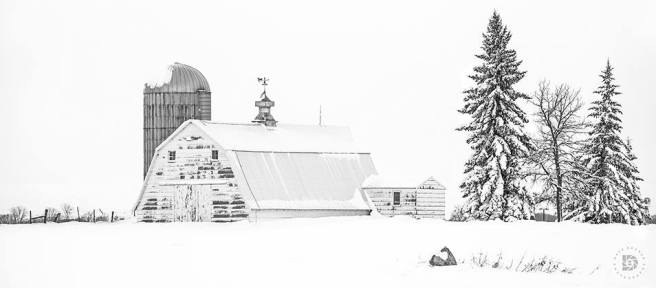 """Winter Farmstead"": Wintery scene after the snowstorm in North Dakota."