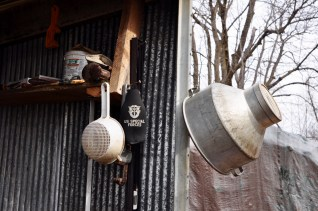 Some of the old tools used in making maple syrup.
