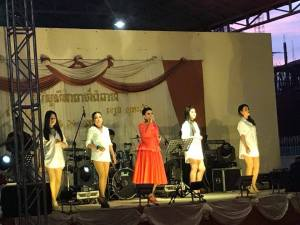 A five-piece rock band with at least three male singers and five female singers/back up dancers entertained at the celebration.