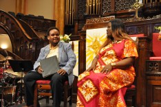 A dialogue at the inaugural performance of the Minneapolis Justice Choir with Tesfa Wondemagegnehu, Westminster Presbyterian Church, Minneapolis, director of Choral Ministries, and Nekima Levy-Pounds, activist, attorney and former law professor at St. Thomas University.