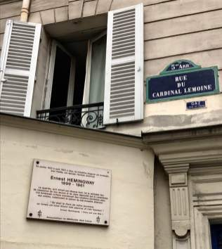 June 4: This is one of two Ernest Hemingway homes in Paris I saw yesterday. I also walked past Gertrude Stein's place near the Luxembourg Garden, also marked with a sign. Unlike the case with Hemingway, hardly anyone reads Stein these days. That would please Hemingway, who later had a huge falling out with her. At any rate, Paris loves them both.