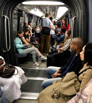 "June 5: A Metro (subway) train in Paris today. This a ""medium-sized"" ridership. Occupancy during rush hour has to be experienced to be believed. But the system can get you practically everywhere you want to go."