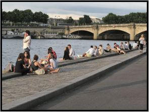 June 7: Nearing sunset along the Seine, Paris.