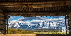 "June 30: ""A Mountain View From The Past"": We found this old cabin in the Teton Mountain range, and I took this image from the inside of the cabin framing the mountains inside the window in early morning light."