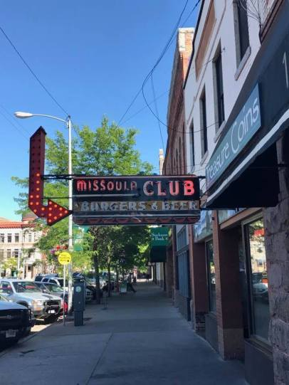 """June 24: Tonight was Kristi and my last night in Missoula. So we celebrated by going out for dinner. I suggested this joint, which offers burgers and beer — my two favorite food groups. But Kristi said the nearby """"Bigga Pizza"""" was out of this world. It was."""