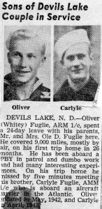 "Newspaper clipping from the summer of 1944, shortly before Carlyle was killed. Note the paper referred to Oliver as ""Whitey."""