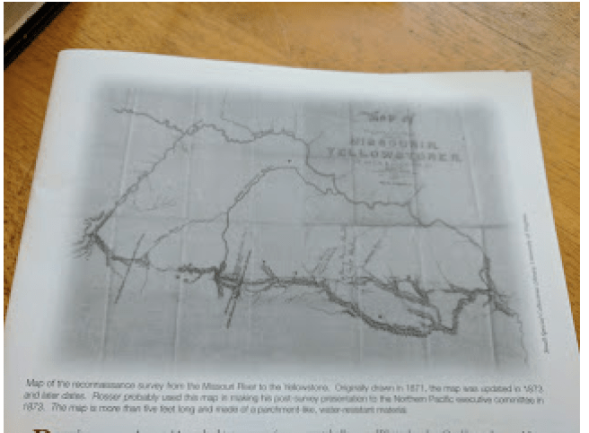 """Map of the reconnaissance survey from the Missouri River to the Yellowstone. Originally drawn in 1871, the map was updated in 1873 and later dates."" This map is reproduced on page 13 of the Lubetkin article with the permission of Small Special Collections Library, University of Virginia."