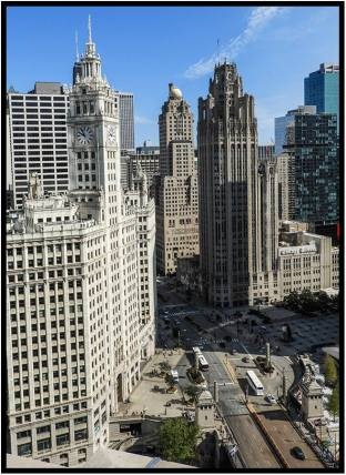 A view from an outdoor restaurant high above Michigan Avenue in Chicago.