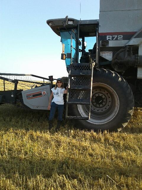 Aunt Deloris with her new combine.