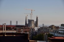 View of Gaudi's towering Basilica of the Sagrada Família, shot from my daughter's rooftop terrace.