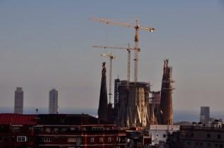 View of Gaudi's towering Basilica of the Sagrada Família, shot from my daughter's rooftop terrace.