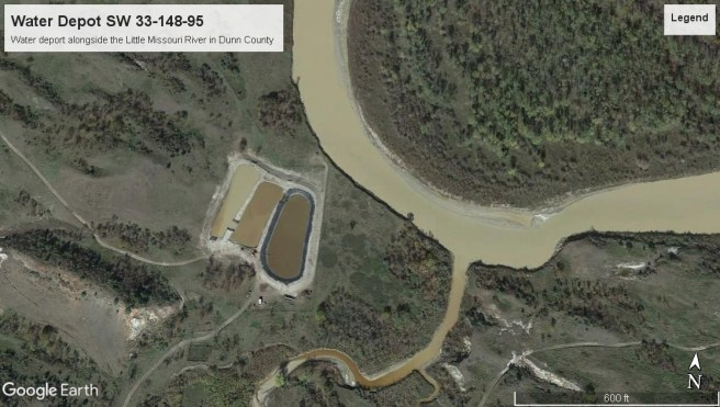 Here's a water depot in Dunn County right up against the bank of the Little Missouri River. Next time the river floods, as it does regularly, this will likely be under water. This exists because the State Water Commission's engineers illegally issued a water permit to a rancher to let it happen.