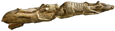 """Two swimming reindeer carved on a mammoth tusk from the British Museum exhibit """"A History of the World in 100 Objects."""""""