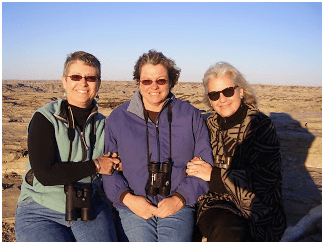 From left: Lillian Crook, Valerie Naylor, Terry Tempest Williams, Painted Canyon, TRNP (March 2008).