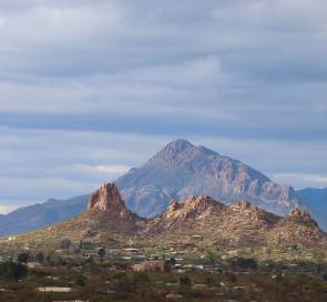 Moving back toward Tucson, I stopped at San Zavier Mission. From there you can see into another mountain range, this one within Tucson's city limits: the Tucson Mountains.