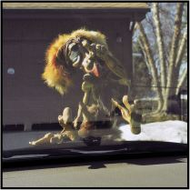 April 23: That pesky Norwegian troll is back, this time on the hood of my car.