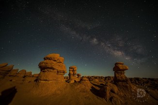 Even though the Milky Way is not as bright with the light from the moon, it gave the landscape some surreal lighting.