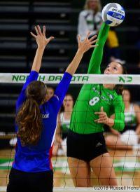 Grand Forks, ND Aug 31, 2018 University of North Dakota Volleyball vs Louisiana Tech. UND won 3-0. Photo by Russell Hons