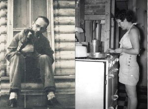 (Left) Uncle Joe and his dog on the steps of the cabin. (Right) My aunt Georgia making breakfast before the interior was finished.