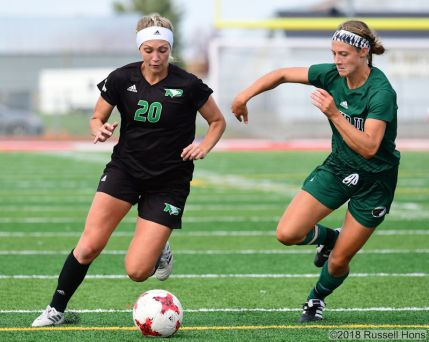 August 8, 2018: A NCAA Division 1 soccer game between the University of North Dakota Fighting Hawks and the Bemidji Beavers at East Grand Forks Senior High School in East Grand Forks, MN. Bemidji defeated UND 1-0. Russell Hons