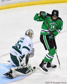 October 12, 2018 during a NCAA men's college hockey game between the University of North Dakota Fighting Hawks and the Bemidji Beavers at the Sanford Center in Bemidji,, Minnesota. __ won _-_. Photo by Russell Hons