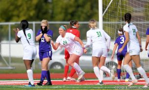 October 4, 2018: A Summit League women's soccer game between the University of North Dakota Fighting Hawks and the University of Western Illinois Fighting Leathernecks at East Grand Forks Senior High School in East Grand Forks, MN. North Dakota won 5-0 Photo by Russell Hons