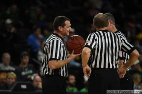 November 17, 2018 A NCAA men's college basketball game between the Minnesota Morris Cougars and the University of North Dakota Fighting Hawks at Betty Engelstad Sioux Center in Grand Forks, ND. Photo by Russell Hons