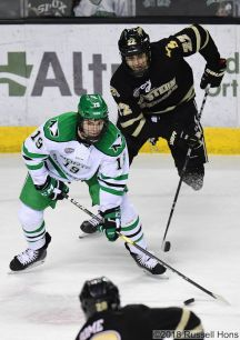 November 16, 2018 A NCAA men's college hockey game between the Western Michigan Broncos and the University of North Dakota Fighting Hawks at Ralph Engelstad Arena in Grand Forks, ND. Western Michigan won 2-0. Photo by Russell Hons