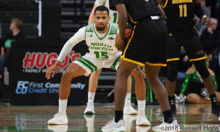 December 9, 2018: a NCAA men's basketball game between the University of Wisconsin-Milwaukee Panthers and the University of North Dakota Fighting Hawks at Betty Engelstad Sioux Center in Grand Forks, ND. Photo by Russell Hons