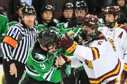 November 30, 2018 A NCAA men's ice hockey game between the University of North Dakota Fighting Hawks and the Minnesota Duluth Bulldogs at Amsoil Arena in Duluth, MN. Duluth won 5-0. Photo by Russell Hons