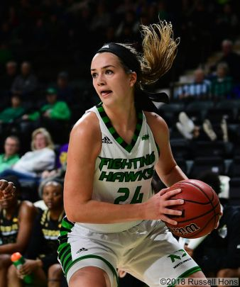 December 30, 2018: a NCAA basketball game between Purdue University Fort Wayne and the University of North Dakota Fighting Hawks at Betty Engelstad Sioux Center in Grand Forks, ND. Photo by Russell Hons