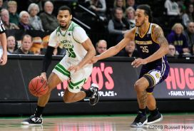 January 12, 2019: a NCAA basketball game between the Western Illinois Fighting Leathernecks and the University of North Dakota Fighting Hawks at Betty Engelstad Sioux Center in Grand Forks, ND. UND won 71-65. Photo by Russell Hons