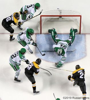 January 11, 2019 a NCAA men's college hockey game between Colorado College and the University of North Dakota Fighting Hawks at Ralph Engelstad Arena in Grand Forks, ND. Photo by Russell Hons