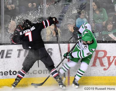 January 25, 2019 a NCAA men's college hockey game between the St. Cloud State Huskies and the University of North Dakota Fighting Hawks at Ralph Engelstad Arena in Grand Forks, ND. Photo by Russell Hons