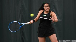 February 16, 2019 University of North Dakota hosts Gustavus Adolphus in women's tennis at Choice Health and Fitness in Grand Forks, ND. Photo by Russell Hons